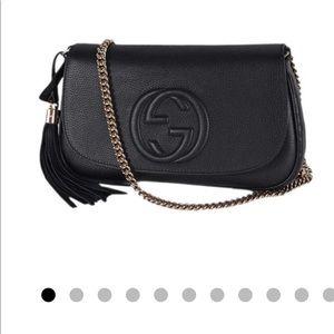 Gucci soho crossbody tassel black leather